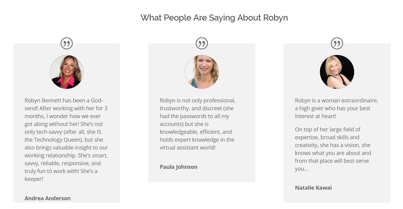 Robyn Bennett testimonials page
