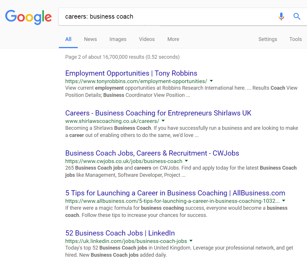 Using Google Search to find career opportunites