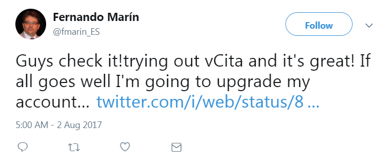 vCita testimonial on Twitter