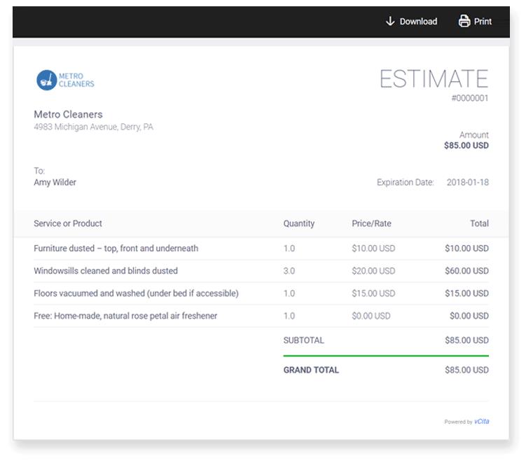 Price estimate sample