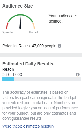 Facebook lets you know whether or not your ad audience size is too narrow or broad