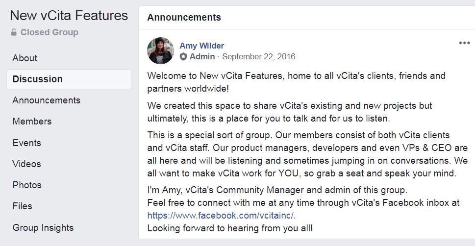 vCita's Facebook group