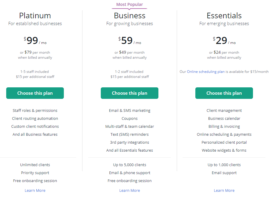 vCita's pricing tiers help serve multiple types of businesses