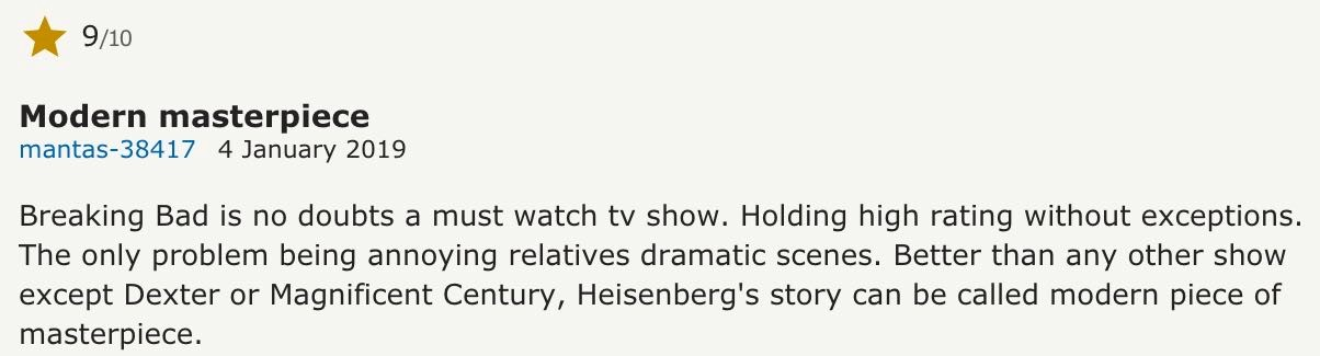 Breaking Bad viewer review from IMDB