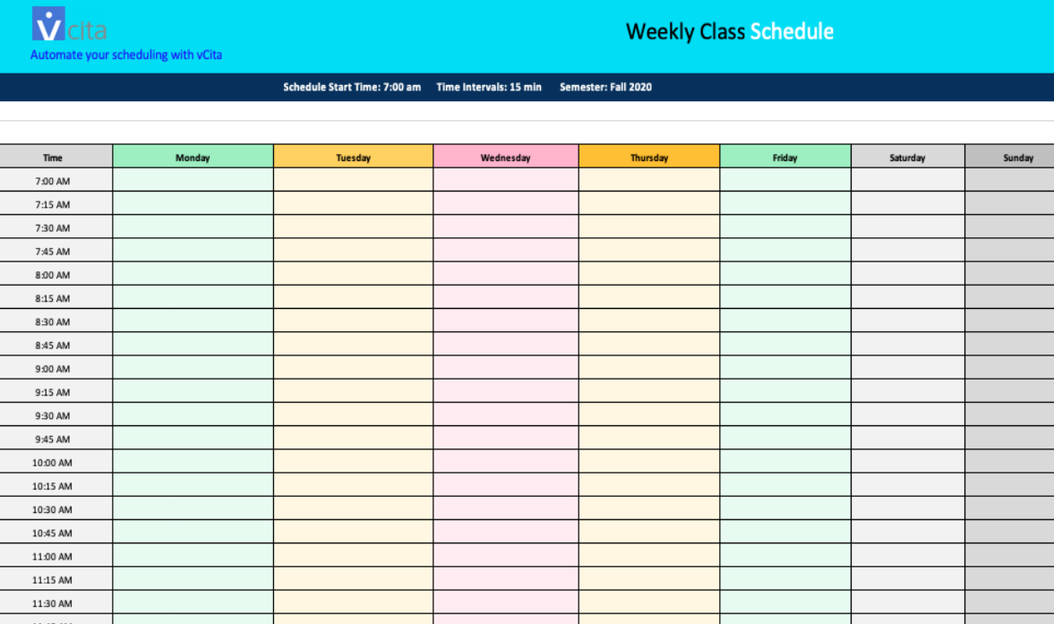 Free Weekly Schedule Templates - Download Free for Word ...