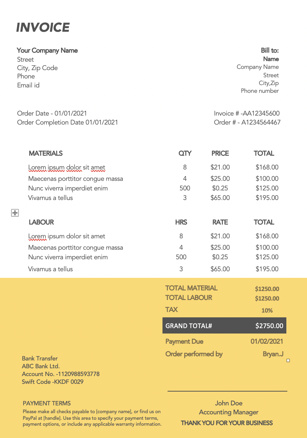 15 Invoice Designs For Service Providers Download For Free