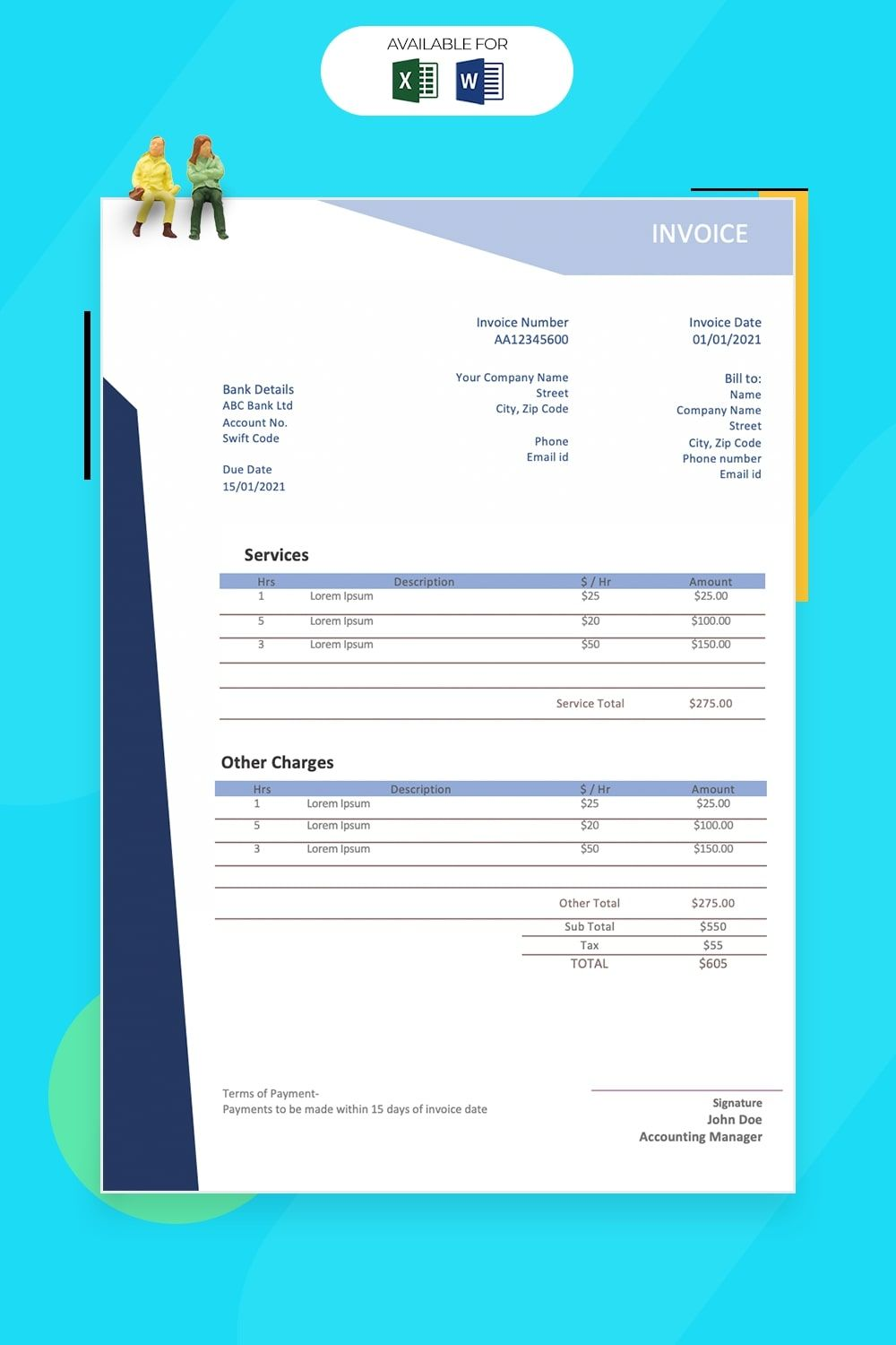 Invoice Templates For Word And Excel Free Download
