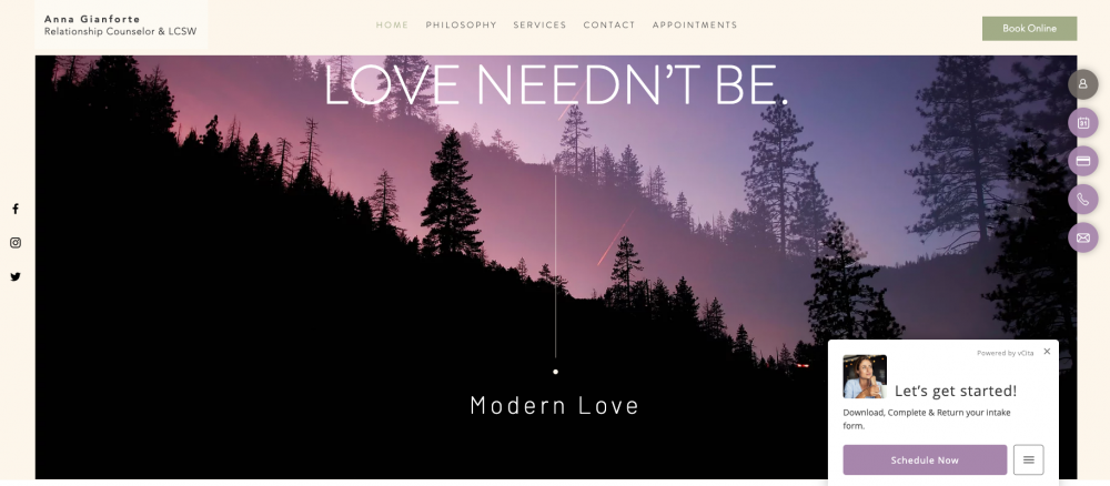 Modern love scheduling call to action
